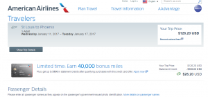 St Louis to Phoenix: AA Booking Page