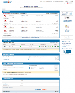 NYC to Maui: CheapOAir Booking Page