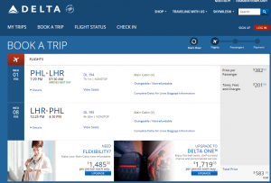 Philly to London: Delta Booking Page