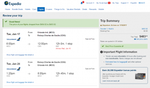 Orlando to Paris: Expedia Booking Page
