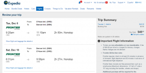 Chicago to Denver: Expedia Booking Page