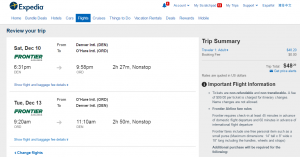 Denver to Chicago: Expedia Booking Page