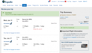 Denver to Paris: Expedia Booking Page
