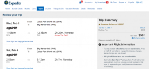 Dallas to Phoenix: Expedia Booking Page