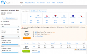 Boston to Nashville: Fly.com Results Page