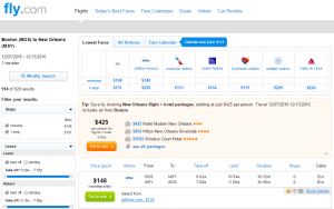 Boston to New Orleans: Fly.com Results Page