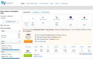 Boston to Philly: Fly.com Results Page