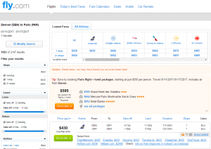 Denver to Paris: Fly.com Results Page