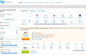 Las Vegas to Las Vegas: Fly.com Results Page