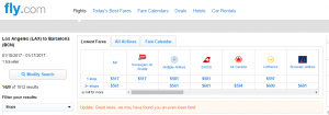 LA to Barcelona: Fly.com Results Page