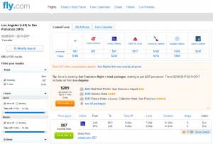 LA to SF: Fly.com Results Page