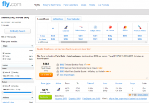 Orlando to Paris: Fly.com results Page