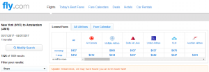 NYC to Amsterdam: Fly.com Results Page