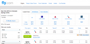 NYC to Colorado Springs: Fly.com Results Page