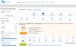 NYC to Miami: Fly.com Results Page
