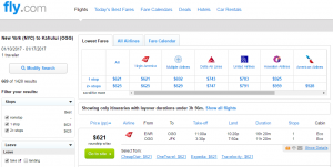 NYC to Maui: Fly.com Results Page