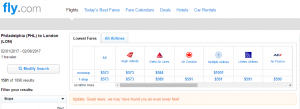 Philly to London: Fly.com Results Page