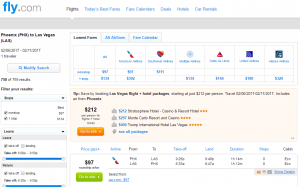 Phoenix to Las Vegas: Fly.com Results Page