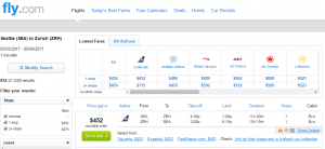 Seattle to Zurich: Fly.com Results Page