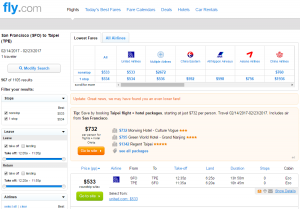 San Francisco to Taipei: Fly.com Results Page