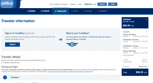 Boston to Philly: JetBlue Booking Page