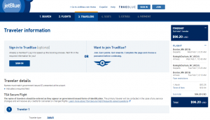 Boston to Raleigh: JetBLue Booking Page