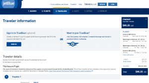 Boston to D.C.: JetBlue Booking Page