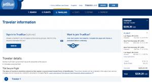 Las Vegas to Las Vegas: JetBlue Booking Page