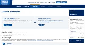 NYC to Las Vegas: JetBlue Booking Page