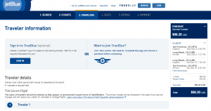 SF to Long Beach: JetBlue Booking Page