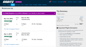 Miami to NYC: Orbitz Booking Page