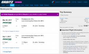 Philly to New Orleans: Orbitz Booking Page