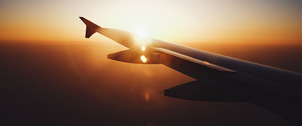 Sunset from inside airplane
