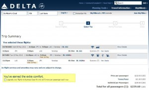 NYC-LAS Delta.com Booking Page