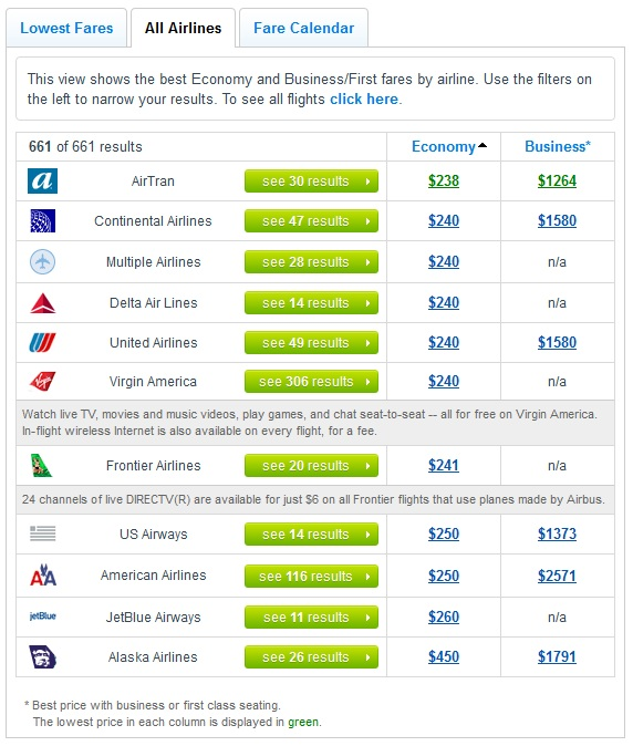 All Airlines Tab