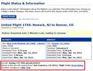 United Airlines Status Page
