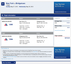 American Airlines Confirmation Page: $218 - New York City to Barbados Nonstop Roundtrip