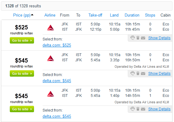 Fly.com Search Results - $525 Roundtrip including Taxes, New York City to Istanbul