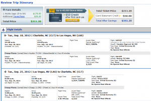 United Confirmation Page: $217 -- Charlotte to Las Vegas (Roundtrip incl. Tax)