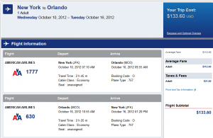 American Airlines Booking Page - $134 -- NYC to Orlando Nonstop (R/T incl. Tax)