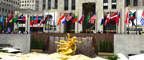 Flags in Rockefeller Center, New York City (Shutterstock.com)
