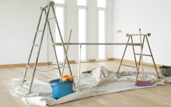Painting Scaffold in a White Room (Shutterstock.com)