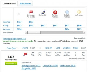 Fly.com Search Results: $449 -- NYC to Oslo (Roundtrip w/Tax)