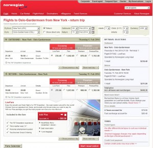 Norwegian Booking Page: $449 -- NYC to Oslo (Roundtrip w/Tax)