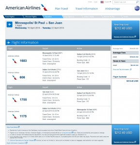 AA Booking Page: $213 -- Minneapolis to San Juan, Puerto Rico