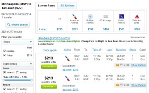 Fly.com Search Results: $213 -- Minneapolis to San Juan, Puerto Rico