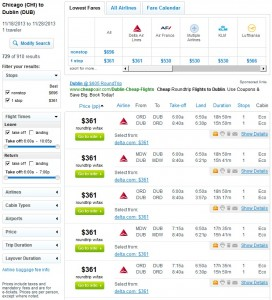 Fly.com Search Results: $361 -- Chicago to Dublin (R/T incl. Tax)