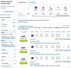 $385 -- Portland to Cancun: Fly.com Results