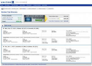 United Booking Page: $495 -- Atlanta to Honolulu (R/T incl. Tax)