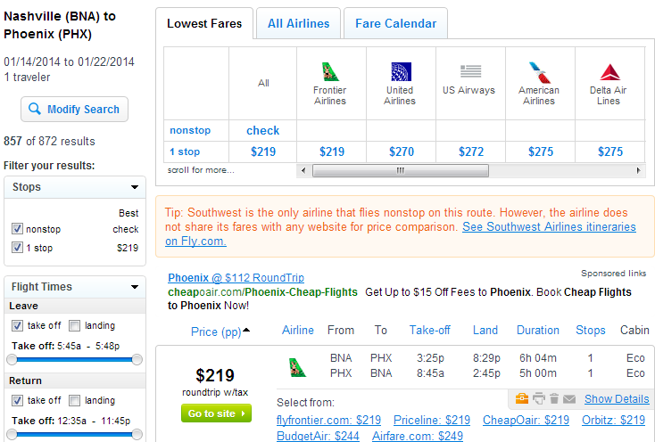 Nashville to Phoenix: Fly.com Results Page